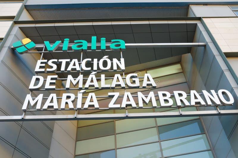 Detail van de voorgevel van het centrale station van Malaga Maria Zambrano, op 29 April, 2014 in Malaga, Andalusia, Spanje royalty-vrije stock fotografie