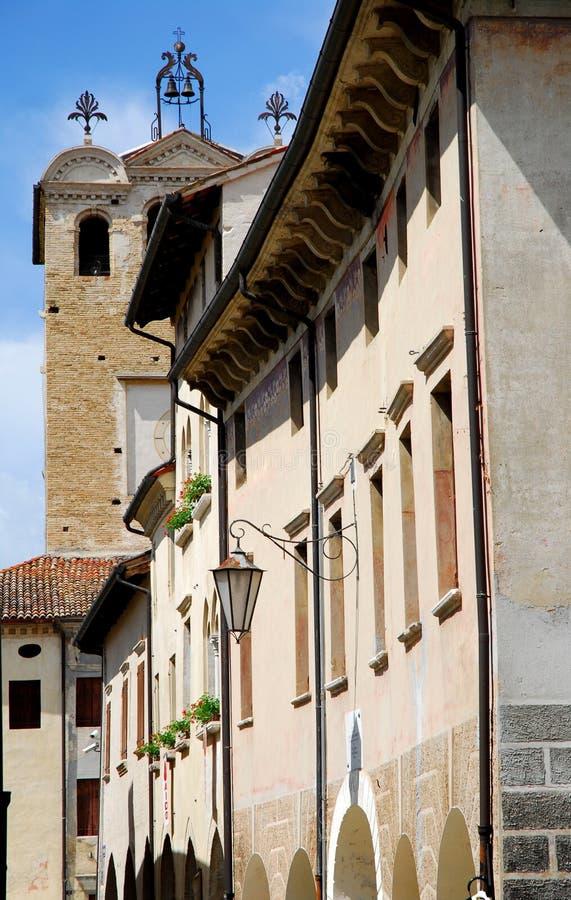 Detail van de voorgevel van het Stadhuis in provincie Portobuffolè van Treviso in Veneto (Italië) royalty-vrije stock foto's