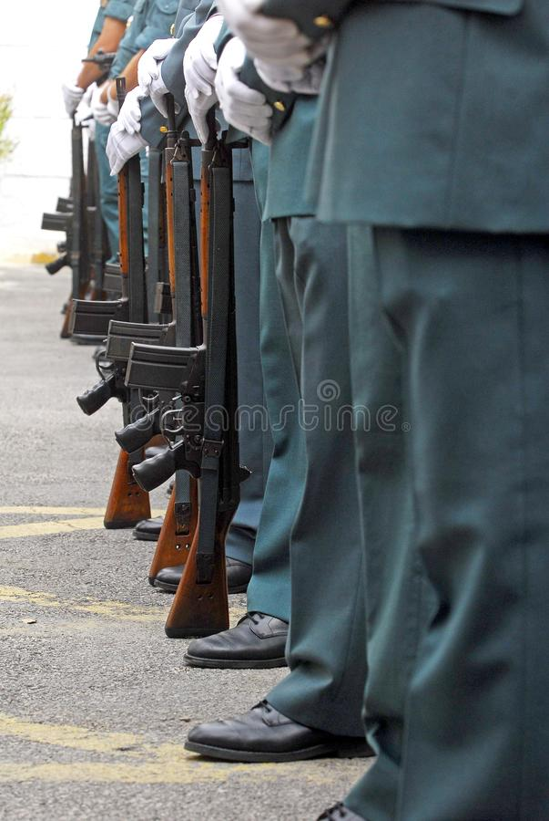 Detail van de wapens van de Spaanse Burgerlijke Wacht stock afbeelding