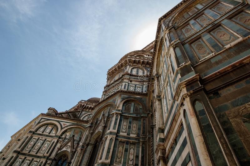 Detail van Duomo Santa Maria del Fiore en Baptistery van San Giovanni, in Florence stock foto