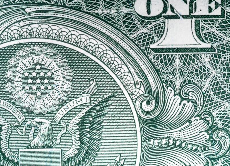 Detail van een één-dollar nota, close-up stock foto's