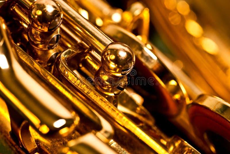 Detail van een altsaxofoon royalty-vrije stock afbeelding