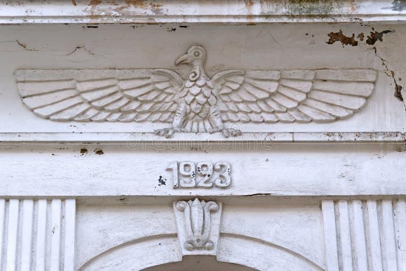 Detail van een gevel van een historisch gebouw stock foto