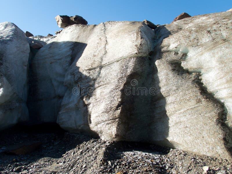 Detail van een gletsjer met een rots stock afbeelding