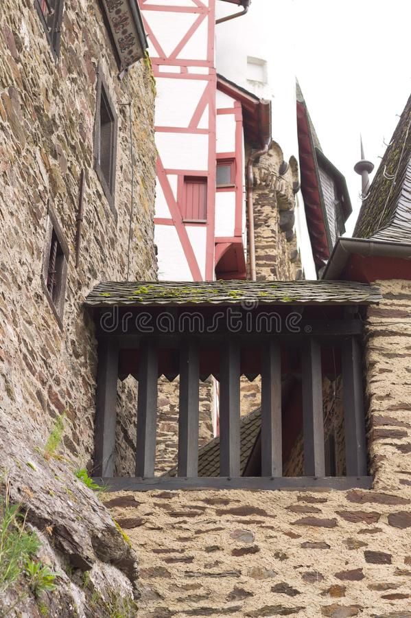 Detail van een middeleeuws gebouw stock foto