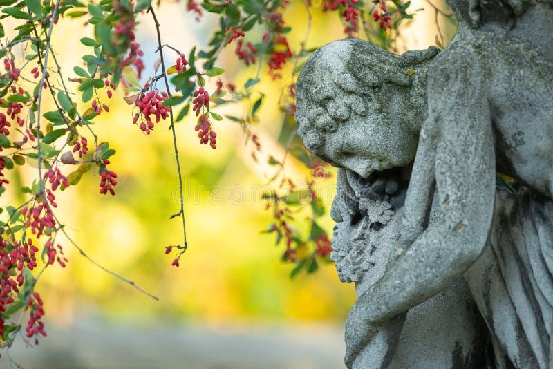 Detail van een oude gravestone op de begraafplaats van St. Marx in het najaar stock afbeelding