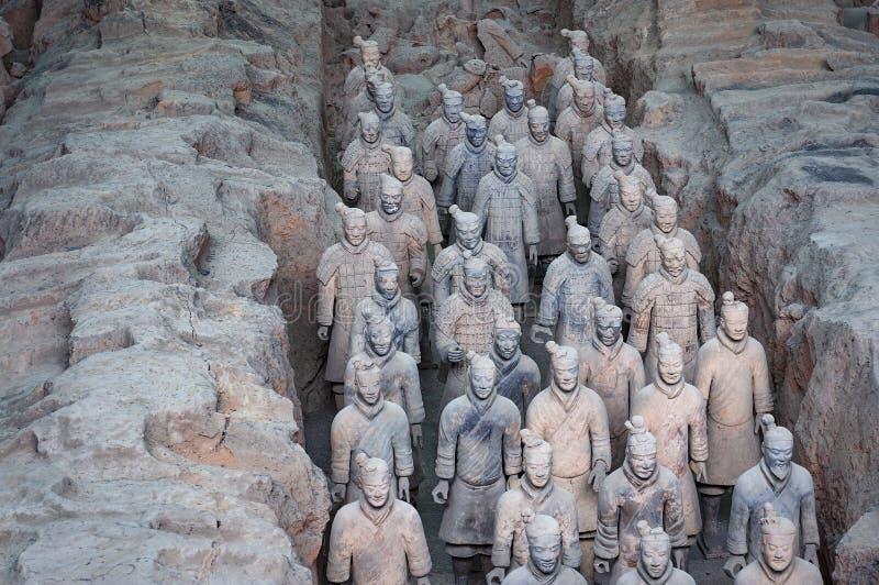 Detail van een rang van Terracottastrijders dichtbij de stad van Xian in China stock afbeeldingen