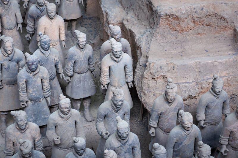 Detail van een rang van Terracottastrijders dichtbij de stad van Xian in China stock afbeelding