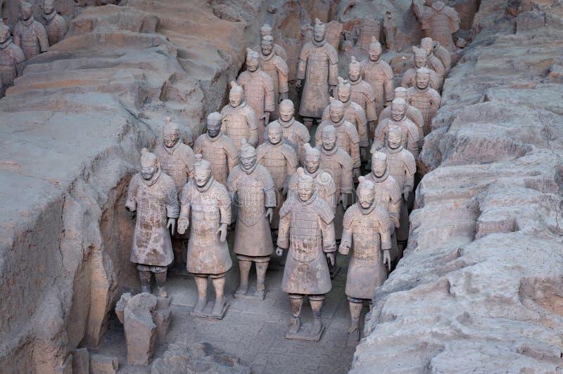 Detail van een rang van Terracottastrijders dichtbij de stad van Xian in China royalty-vrije stock foto's