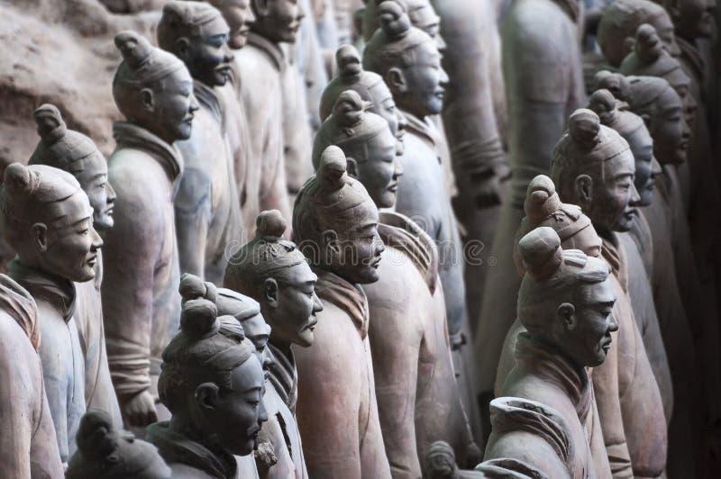 Detail van een rang van militairen van het Leger van Terracottastrijders dichtbij Xian, Shanxi royalty-vrije stock afbeeldingen