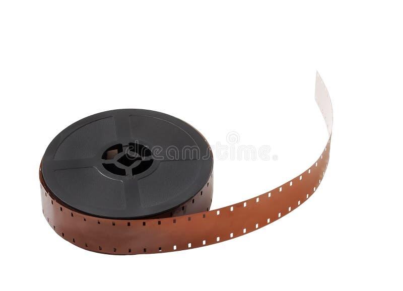 Detail van een spoel van 16mm film op witte achtergrond wordt geïsoleerd die royalty-vrije stock foto's