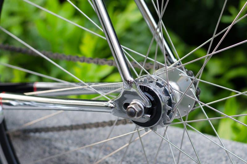 Detail van fietswiel stock afbeelding