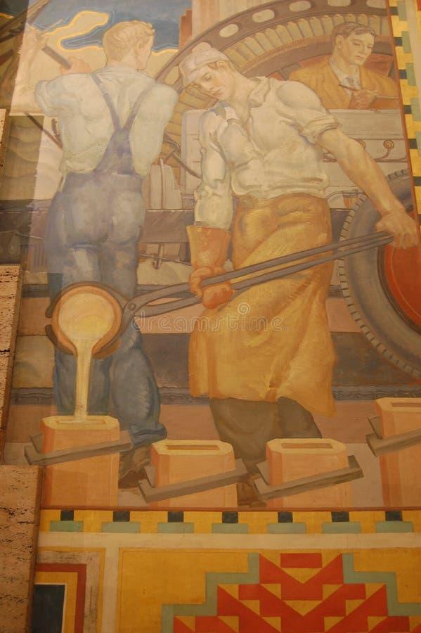 Detail van fresko binnen het Beschermergebouw, Detroit Michigan de V.S. royalty-vrije stock afbeelding