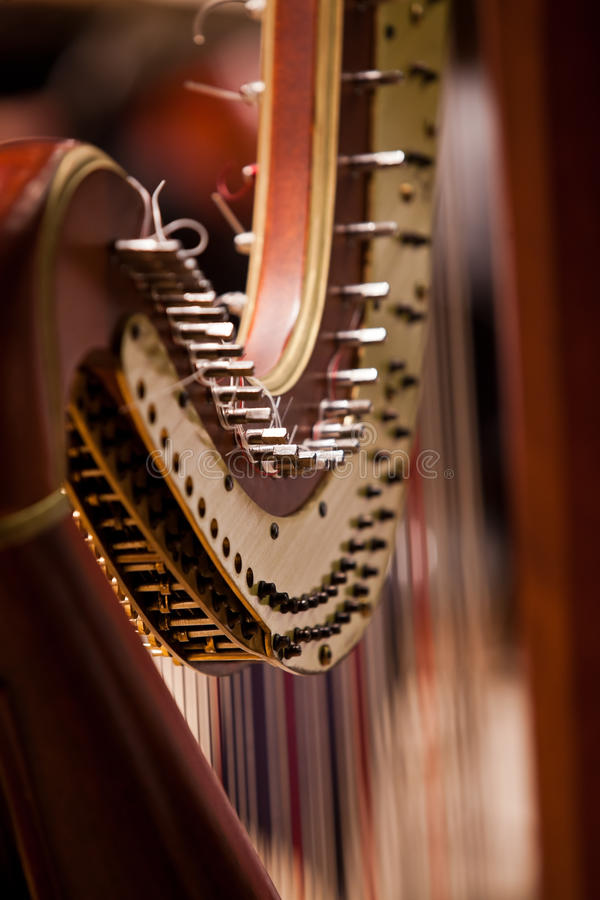 Detail van harp stock afbeeldingen