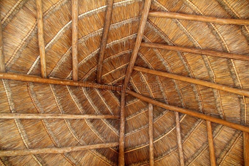 Detail van het de cabinedak van Mexico van Palapa het tropische houten royalty-vrije stock fotografie