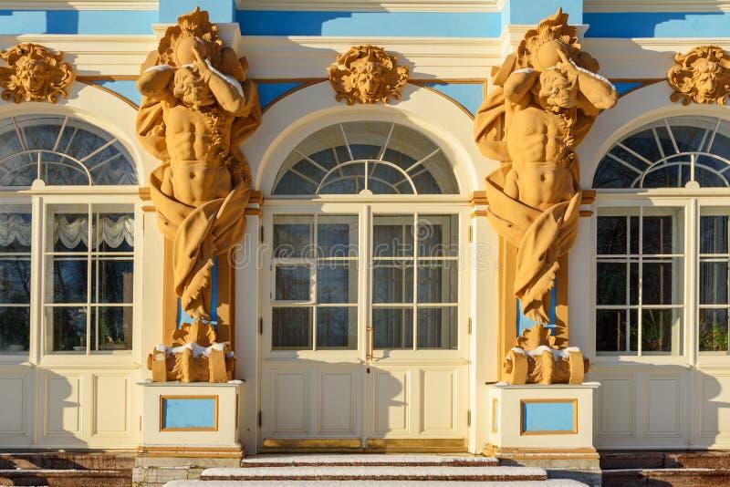 Detail van het paleis van Catherine in Tsarskoe Selo pushkin Heilige Petersburg Rusland stock afbeelding