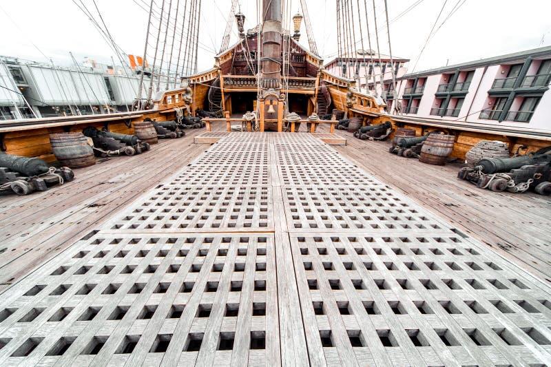 Detail van het schip van Galeone Neptunus stock foto's