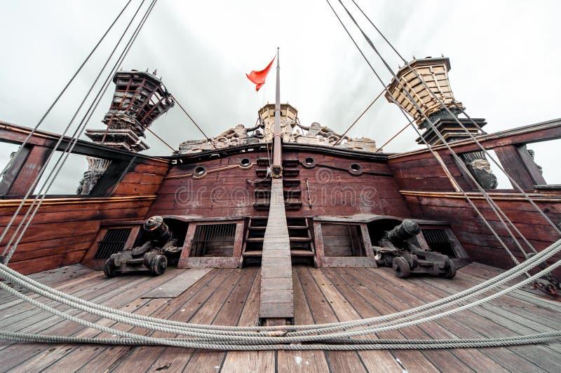 Detail van het schip van Galeone Neptunus stock fotografie