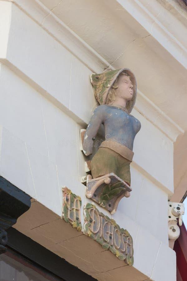 Detail van het teken 'La Dichosa ', beroemde koffiebar in het centrum van Havana royalty-vrije stock foto's