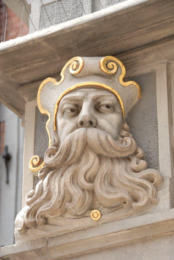Detail van huisvoorzijde in Oude Stad, Gdansk Polen stock afbeeldingen