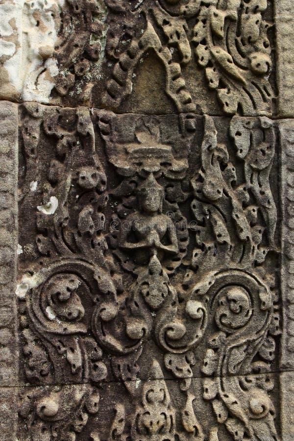 Detail van ingewikkeld Gesneden Bas Relief in Hindoese Tempel stock afbeeldingen