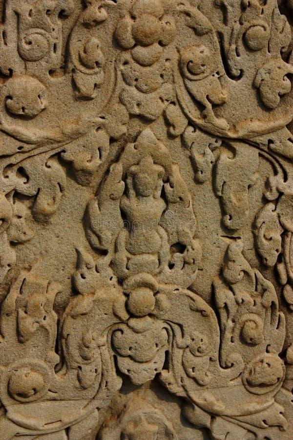 Detail van ingewikkeld Gesneden Zandsteen Bas Relief in Hindoese Tempel royalty-vrije stock fotografie