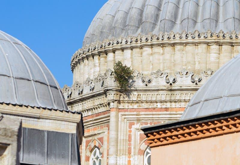 Detail van koepels van Sehzade-Moskee in Istanboel stock afbeelding