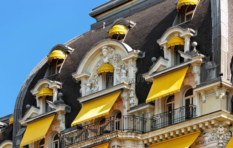 Detail van Luxehotel bij het Meer Montreux Zwitserse Riviera van Genève royalty-vrije stock afbeelding