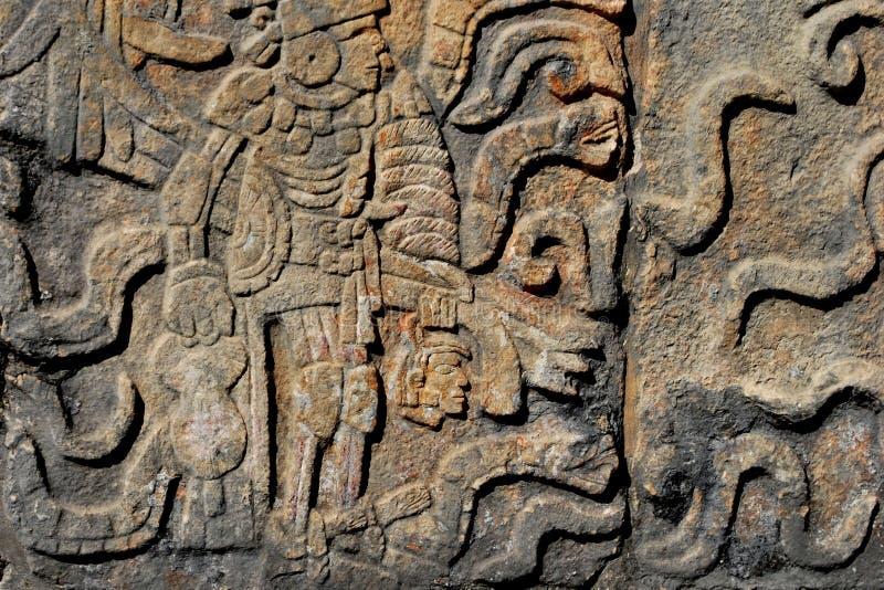 Detail van Mayan muurgravure royalty-vrije stock afbeelding