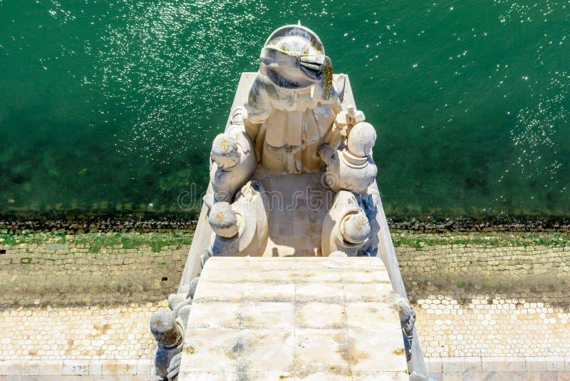 Detail van Monument aan de Ontdekkingen in Lissabon, Portugal stock foto