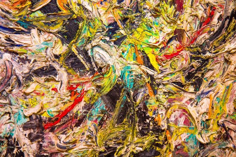 Detail van olieverf het schilderen stock afbeeldingen