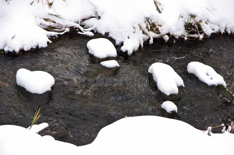 Detail van ontdooide die waterstroom door sneeuw in de winter bij berg Kozomor wordt omringd royalty-vrije stock fotografie
