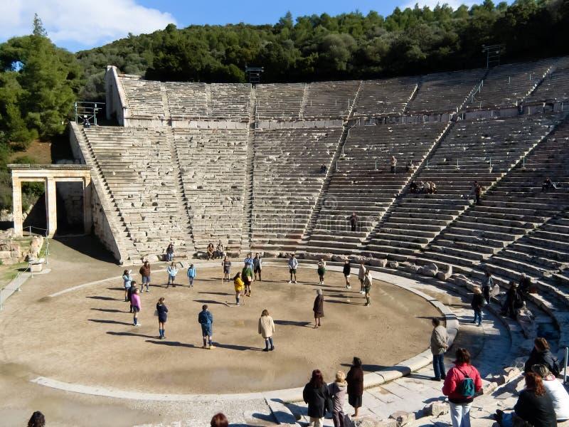 Detail van oud Theater Epidaurus in Griekenland royalty-vrije stock afbeeldingen