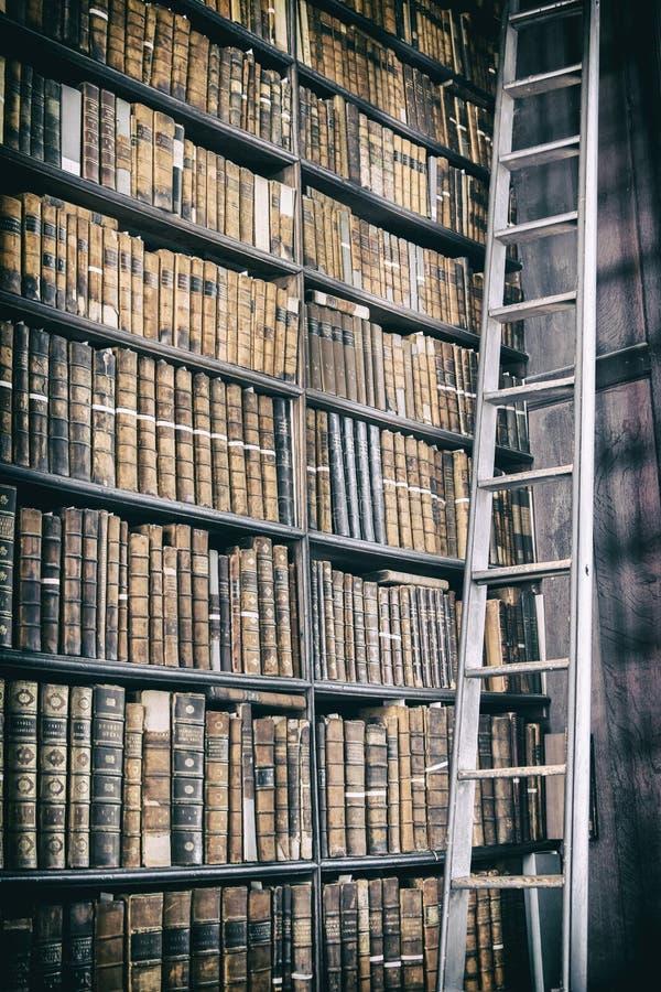 Detail van oude klassieke bibliotheek royalty-vrije stock afbeelding