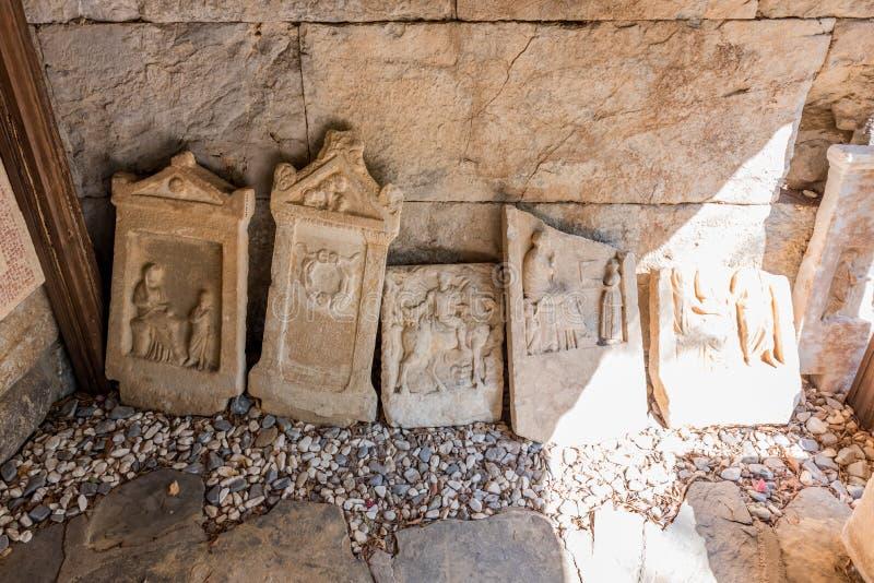 Detail van oude Roman marmeren grafzerken stock fotografie