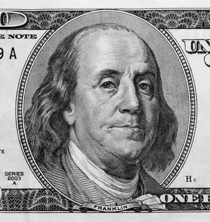 Detail van Portret op Honderd Dollar Miljard royalty-vrije stock foto's
