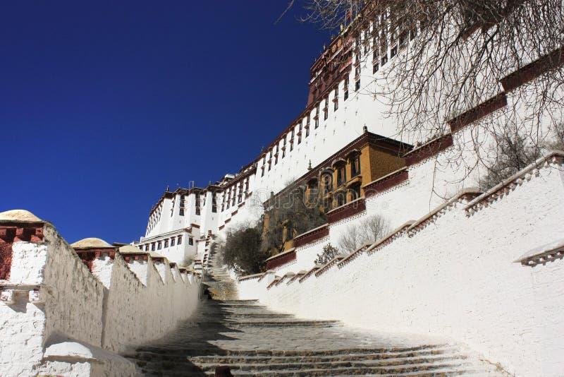 Detail van potalapaleis in Tibet stock afbeelding