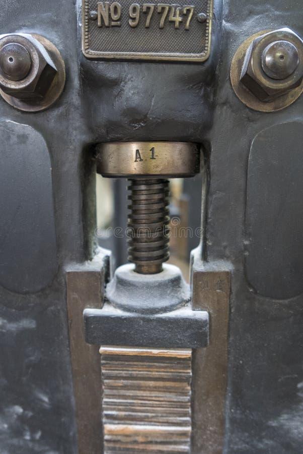 Detail van retro oude machine van de persdruk stock foto's