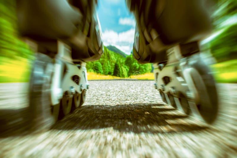 Detail van rolschaatsen stock foto's