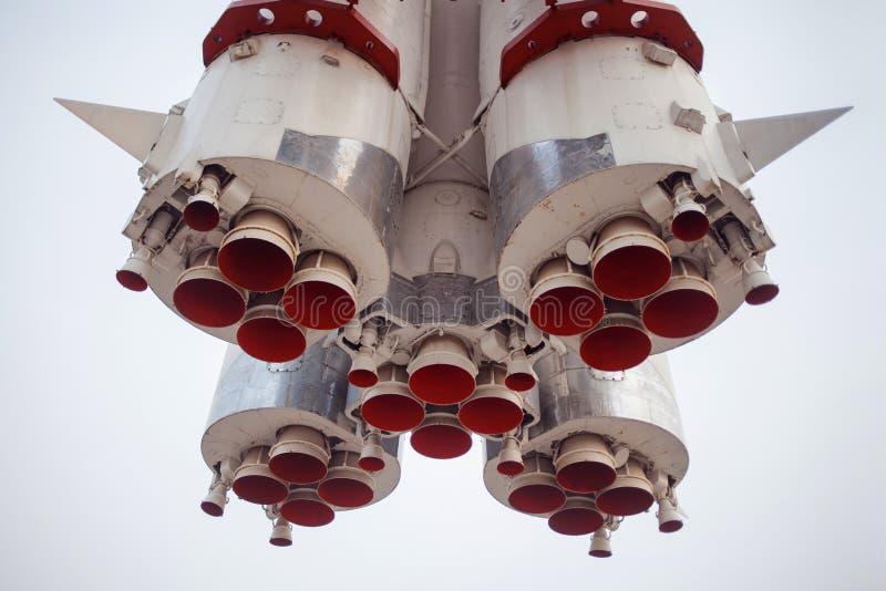 Detail van ruimteraketmotor Een deel van de raket, het close-up, de wetenschap en de technologie stock afbeelding