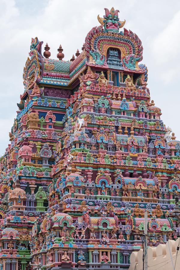 Detail van tempelgateway in Trichy in Tamil Nadu royalty-vrije stock foto