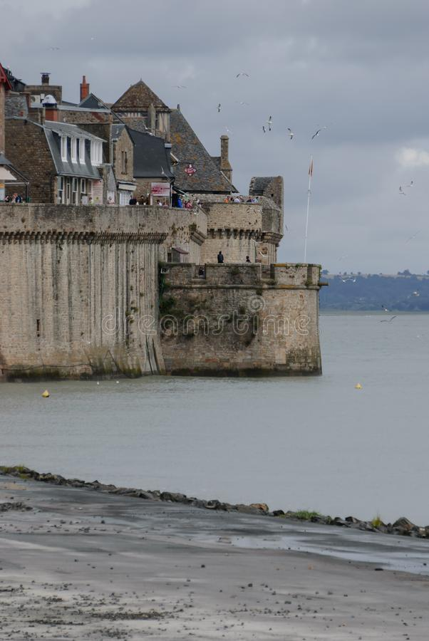 Detail van toren van Mont Saint Michel frankrijk royalty-vrije stock fotografie