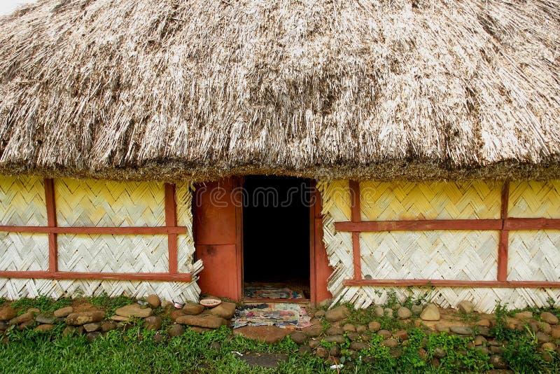 Detail van traditioneel huis van Navala-dorp, Viti Levu, Fiji stock foto