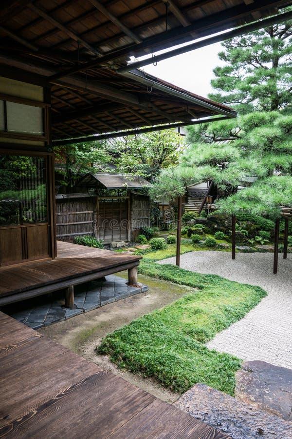 Detail van traditionele Japanse tuin stock afbeelding