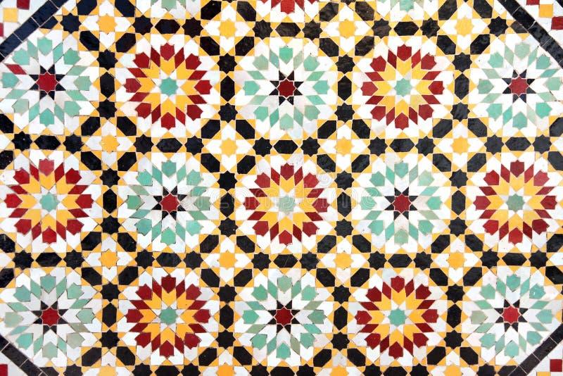Detail van traditionele Marokkaanse mozaïekmuur, Marokko stock foto