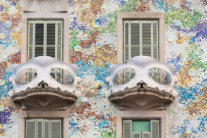 Detail van twee balkons van Casa Batllo, Barcelona royalty-vrije stock afbeeldingen