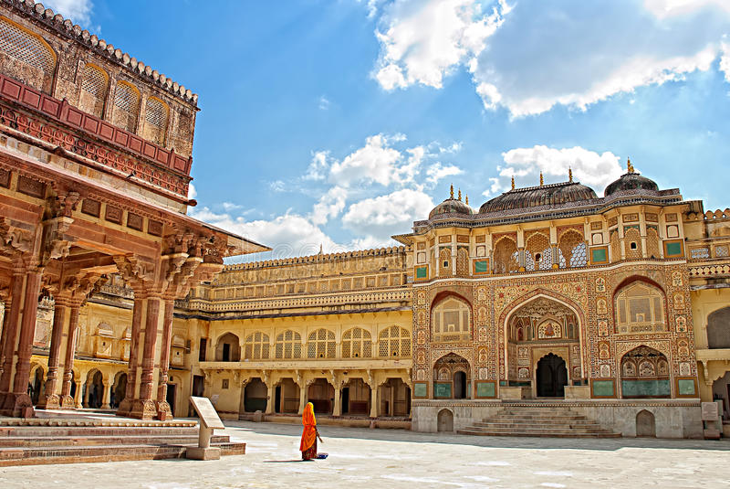 Detail van verfraaide gateway Amber Fort, Jaipur, India royalty-vrije stock foto's