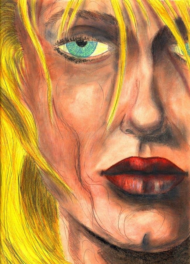 Detail van vrouwengezicht stock illustratie