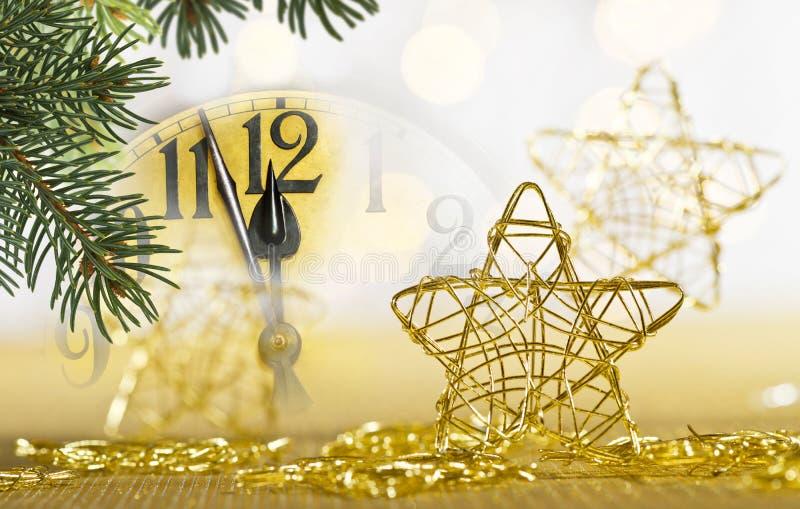 Detail van wijzerplaat en Kerstmistakje royalty-vrije stock foto