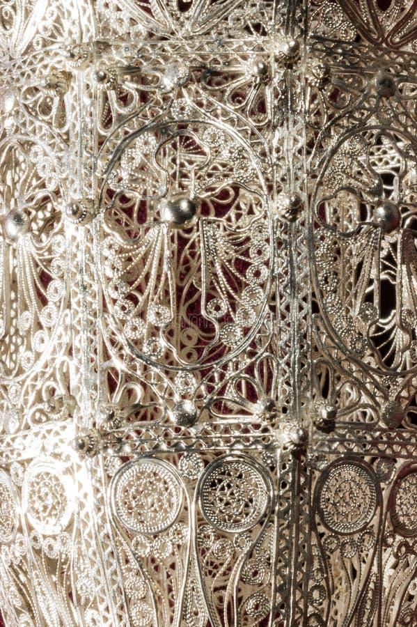 Detail van zilveren incensory met het filigraanwerk stock fotografie